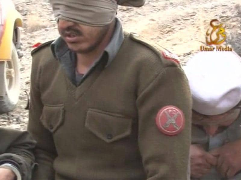 Blindfolded Pakistani soldiers are seen in this still image taken from a video obtained by Reuters.