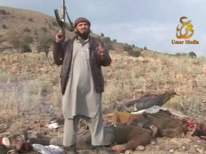 A Taliban militant speaks after the killing of Pakistani soldiers in this still image taken from video obtained by Reuters.