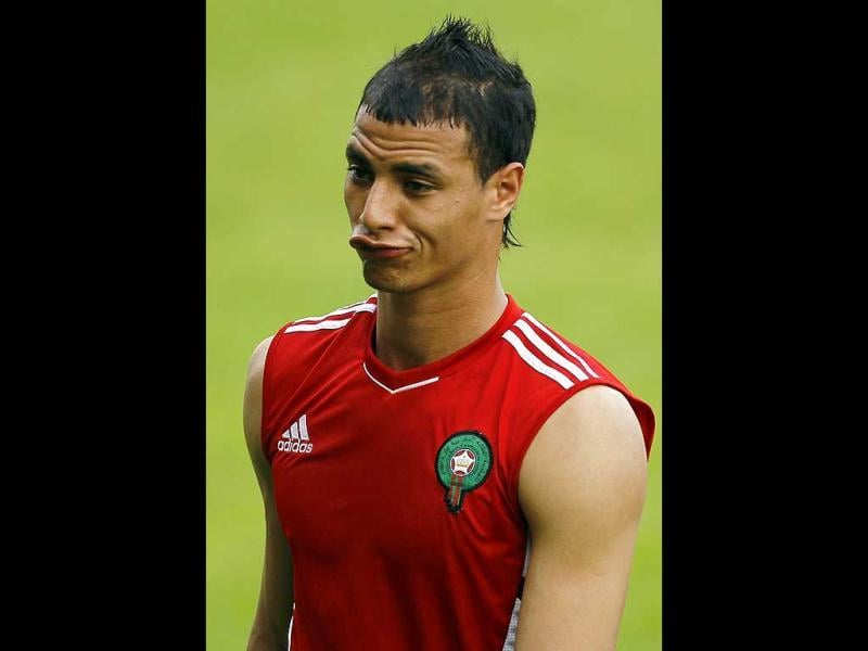 Morocco forward Marouane Chamakh grimaces during a training session ahead of their African Cup of Nations Group C soccer match in Libreville, Gabon. (AP Photo/Francois Mori)