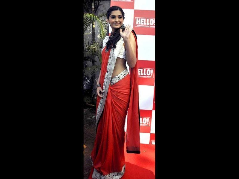 Sonam Kapoor gestures during an event for the Hello! Classic Race in Mumbai on Jan 22.