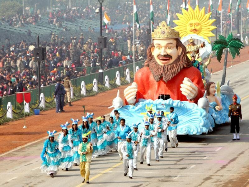 The tableau of Goa passes before the saluting base during the Republic Day rehearsal on Rajpath in New Delhi. (HT Photo/Mohd Zakir)