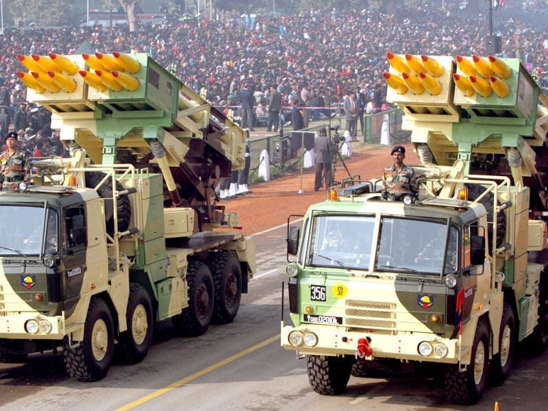 Smerch 300MM Multi Barrel Rocket Launcher System passes before the saluting base during the Republic Day rehearsal at Rajpath in New Delhi.(HT Photo/Mohd Zakir)