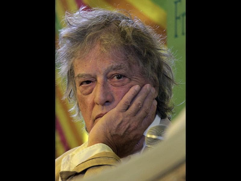 British play writer Tom Stoppard listens at a session at the Jaipur Literature Festival in Jaipur. AP Photo/Manish Swarup