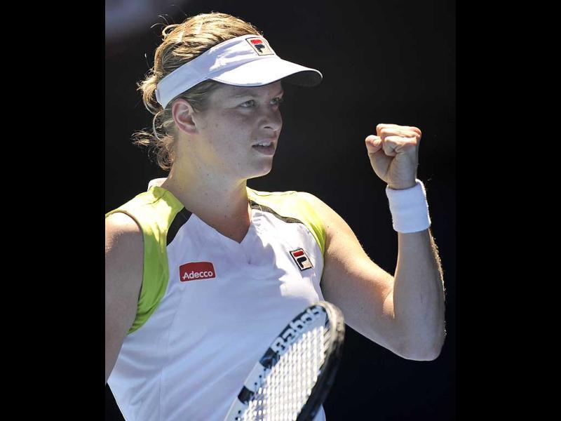 Kim Clijsters of Belgium reacts after winning a point against Caroline Wozniacki of Denmark during their quarterfinal at the Australian Open tennis championship, in Melbourne, Australia. (AP Photo/Andrew Brownbill)
