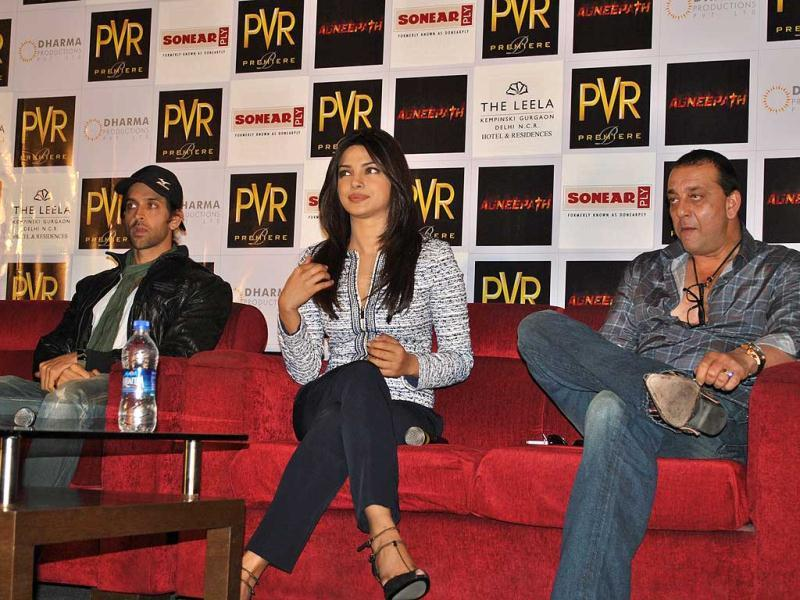 Hrithik, Sanjay and Priyanka also addressed a press meet in Gurgaon before attending the special screening.