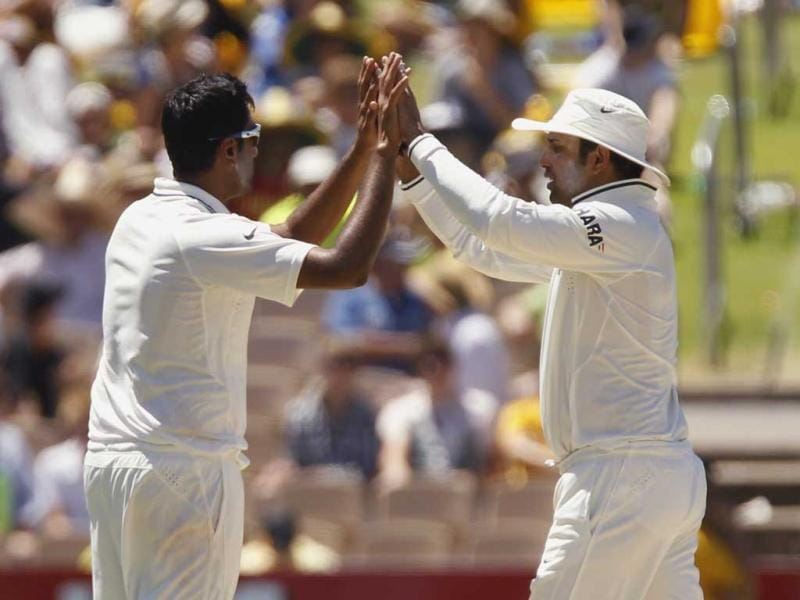 Ravichandran Ashwin celebrates taking the wicket of Peter Siddle during the second day of the fourth Test cricket match against Australia in Adelaide. Reuters Photo/Brandon Malone.