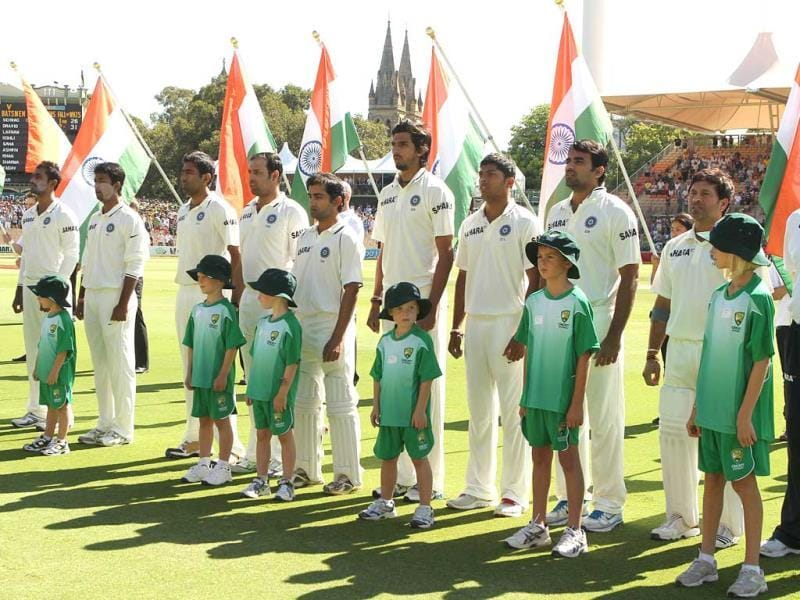 Indian players stand for their national anthem prior to the start of play on day 3 of the fourth cricket Test match against Australia in the Border-Gavaskar Trophy Series at the Adelaide Oval. AFP Photo/Tony Ashby