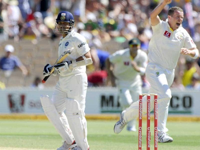 Sachin Tendulkar (left) is dismissed on the third day of the fourth Test cricket match against Australia in Adelaide. AP Photo/David Mariuz
