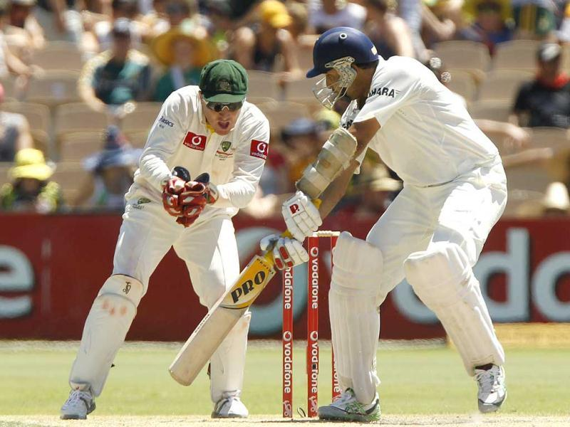 VVS Laxman of India watches as Brad Haddin of Australia catches him out during the third day of the fourth Test cricket match in Adelaide. Reuters/Brandon Malone.