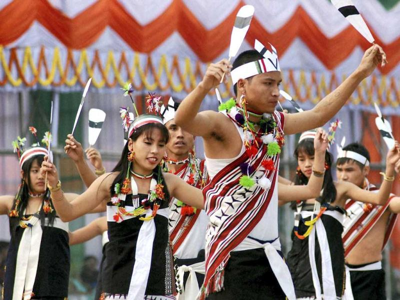 Artists perform a folk dance during 63rd Republic Day function in Guwahati. PTI Photo