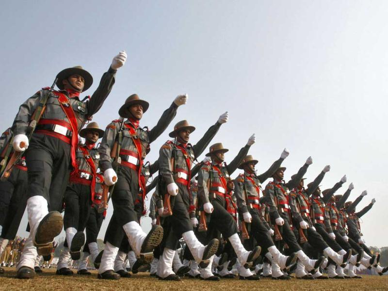 Soldiers march during the Republic Day celebrations in Agartala. Reuters photo/Jayanta Dey