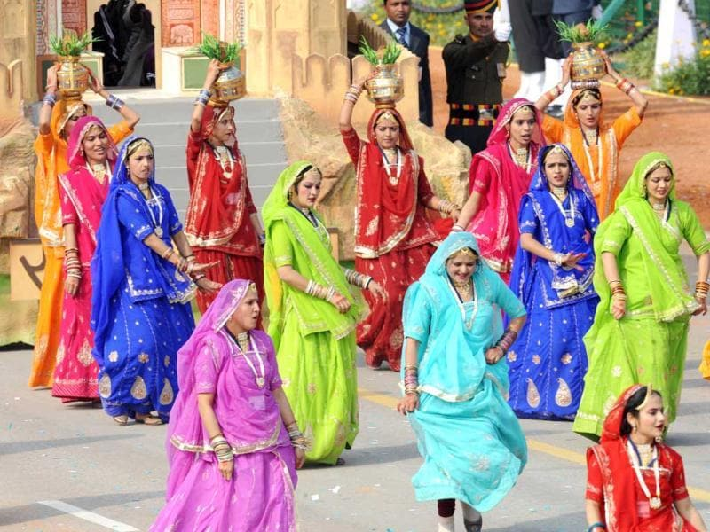 Women from Rajasthan participate in the Republic Day parade in New Delhi. AFP Photo/Raveendran