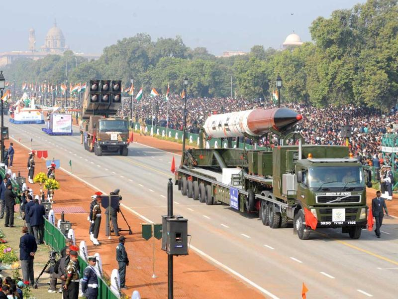 Agni IV missiles are displayed during the Republic Day parade in New Delhi. AFP Photo/Raveendran