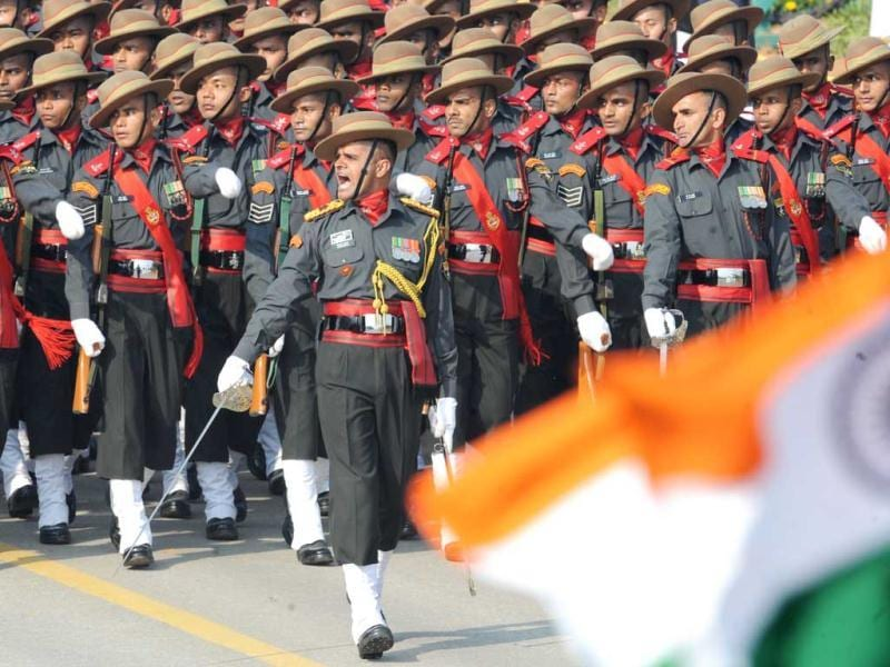 Soldiers participate in the Republic Day parade in New Delhi. AFP Photo/Raveendran