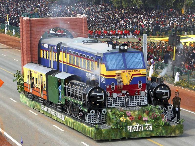 Railway tableau on display at the 63rd Republic Day parade at Rajpath in New Delhi on Thursday. PTI Photo/Shahbaz Khan