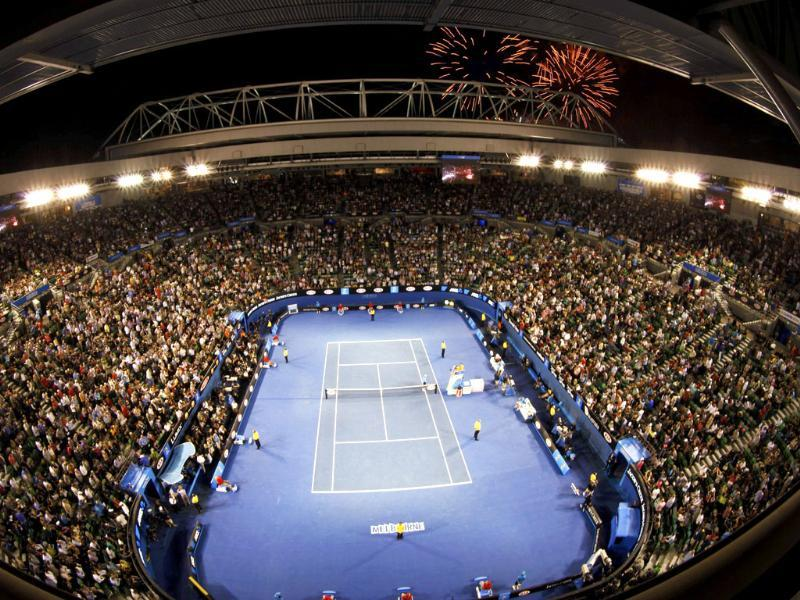 Fireworks explode above Rod Laver Arena, as part of Australia Day celebrations during a break in the men's semifinal match between Roger Federer and Rafael Nadal, at the Australian Open tennis tournament in Melbourne. Reuters/Daniel Munoz