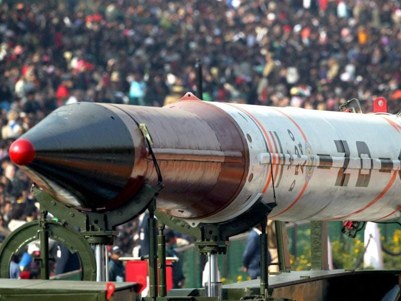 A model of Agni 4 missile on display during 63rd Republic Day parade at Rajpath in New Delhi. (PTI Photo/Vijay Verma)