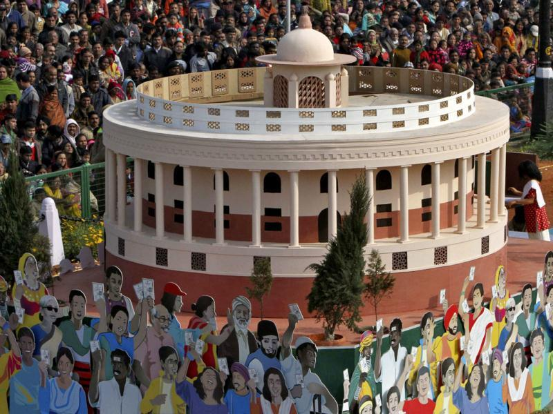 A tableau representing from the election commission of India representing the Indian parliament is displayed during the 63rd Republic Day parade in New Delhi. (Reuters/B Mathur)