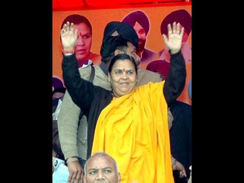 BJP leader Uma Bharti during an election campaign rally in support of SAD/BJP combine candidate of Fatehgarh Sahib, Prem Singh Chandumajra in Fatehgarh Sahib, Punjab. (PTI Photo)