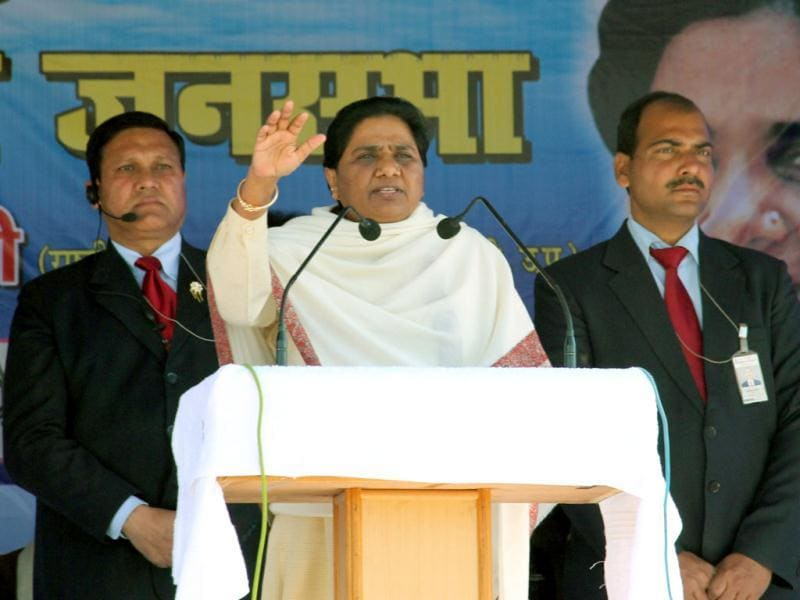 Uttar Pradesh chief minister and BSP chief Mayawati during election campaign at Dehradun. (HT photo/Anil Tyagi)