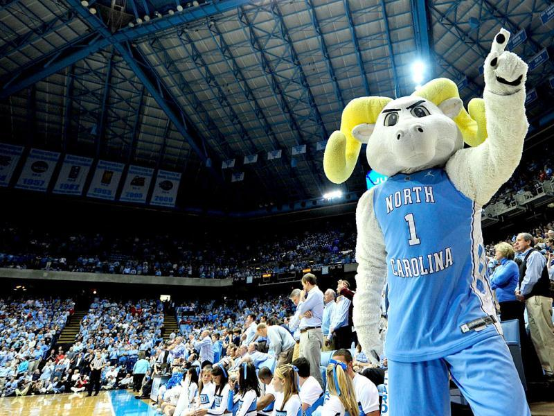 Rameses, mascot of the North Carolina Tar Heels, performs during a game against the North Carolina State Wolfpack at the Dean Smith Center in Chapel Hill, North Carolina. AFP
