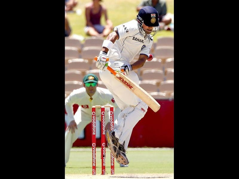 Opening batsman Gautam Gambhir plays on day 4 of the fourth cricket Test match against India in the Border-Gavaskar Trophy Series at the Adelaide Oval.