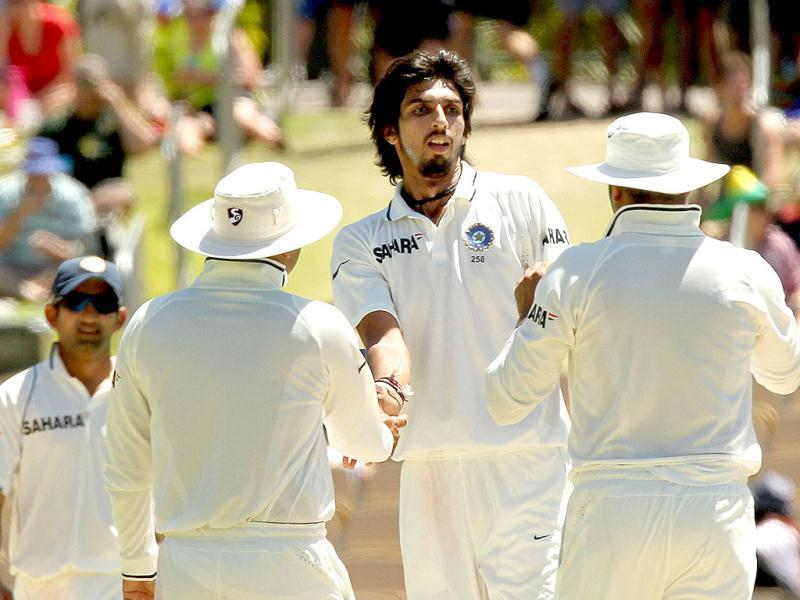 Ishant Sharma after taking the wicket of Mike Hussey on day 4 of the fourth cricket Test match at the Adelaide Oval. AFP
