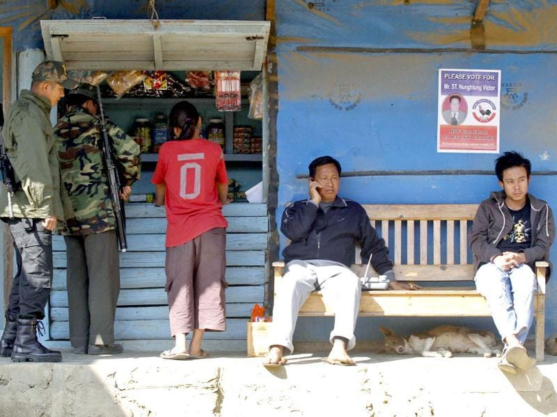 Security personnel line up to buy food from a shop at Chandel village, south of Imphal. Reuters/Rupak De Chowdhuri