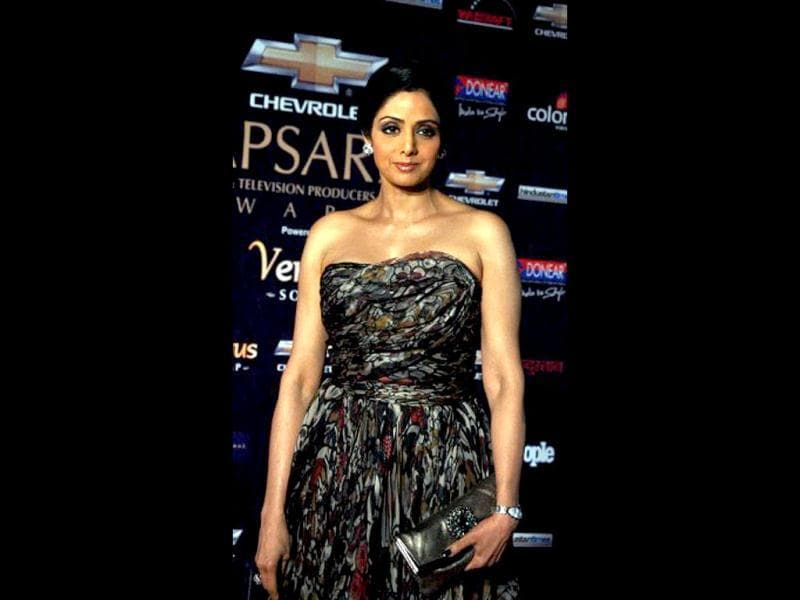 Sridevi's strapless dress set her apart from the younger crowd at the awards do.
