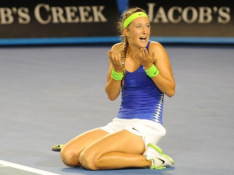 Victoria Azarenka reacts after victory in her women's singles final against Maria Sharapova. AFP/William West