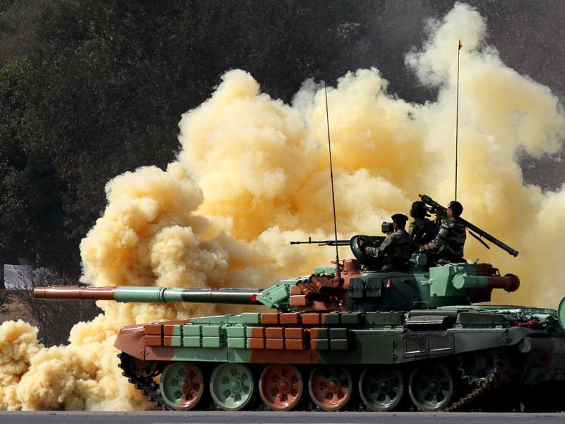 A T-72 tank rolls down during the National Cadet Corps (NCC) Prime Minister's rally parade in New Delhi. HT/Virendra Singh Gosain