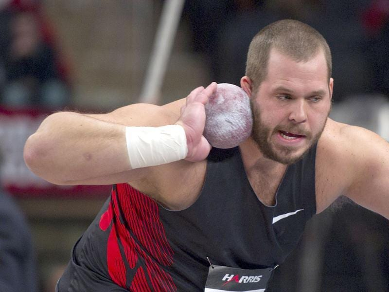 Ryan Whiting of the US gets ready to throw the shot put on his way to winning the event at the US Open Track and Field meet at Madison Square Garden in New York. Reuters