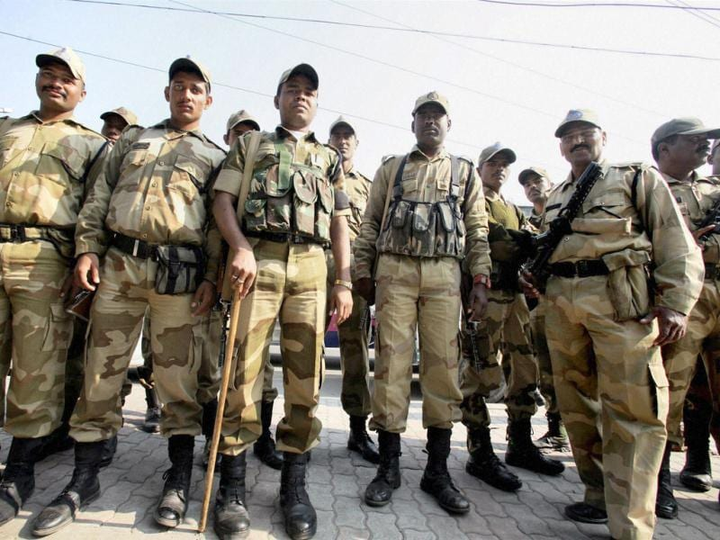 Para military forces stand guard in Jalandhar. PTI