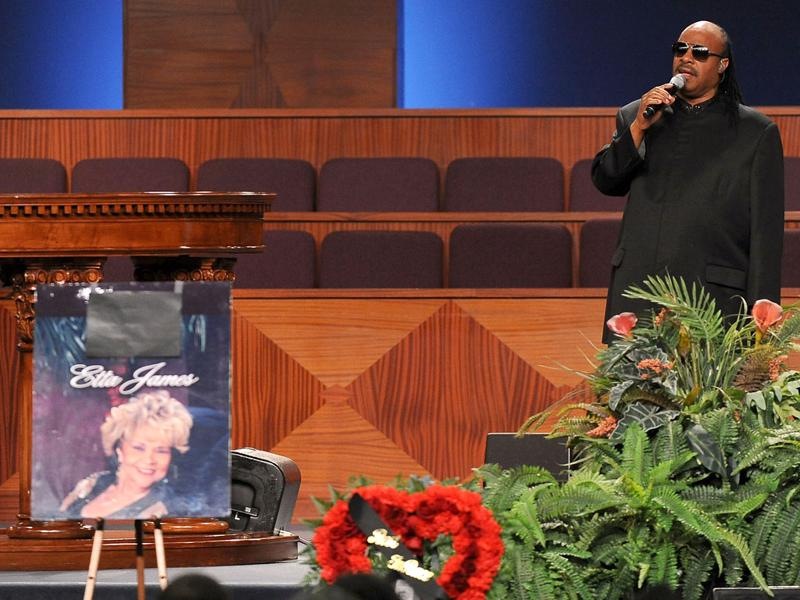 Singer Stevie Wonder performs at the Etta James' funeral, in Gardena, California. (AFP PHOTO/Valerie Macon)