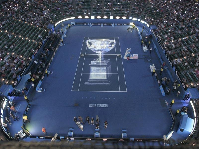 The image of the championship trophy projected on Rod Laver Arena before the men's singles match between Rafael Nadal of Spain and Novak Djokovic of Serbia at the Australian Open tennis championship, in Melbourne, Australia. AP/John Donegan