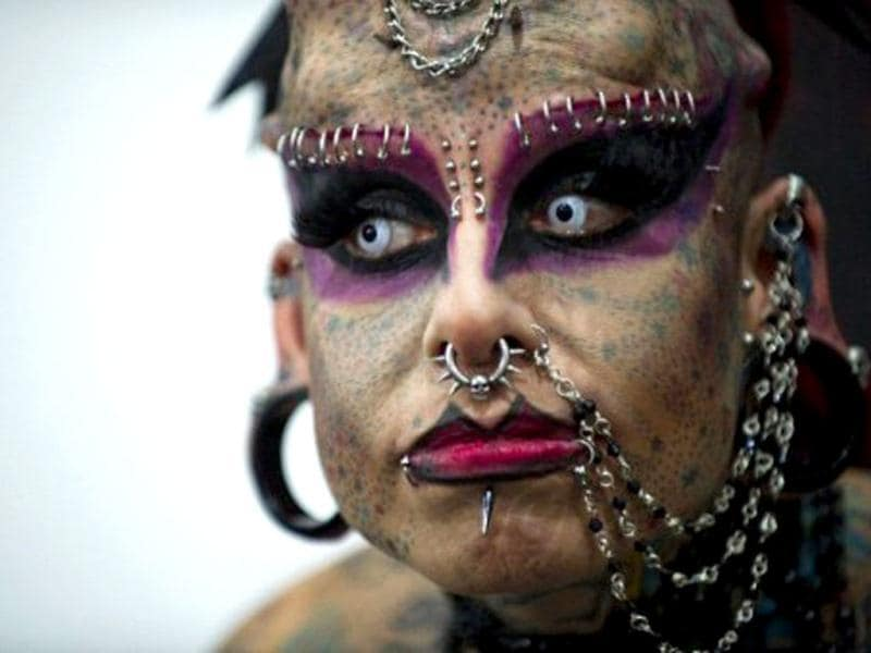 Mexican Mary Jose Cristerna aka The Vampire Woman poses during the Venezuela Expo Tattoo 2012 in Caracas. Over 200 tattoo artists from countries such as Venezuela, Argentina and Mexico gather in Caracas to show this art, which also uses implants in the face and cuts in the skin. AFP/Leo Ramirez