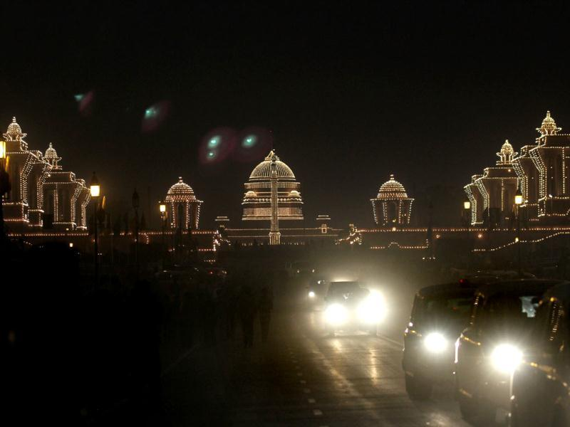 Rashtrapati Bhavan, North Block, South Block illuminated on the occasion of the beating retreat ceremony in New Delhi. VIRENDRA SINGH GOSAIN /HT