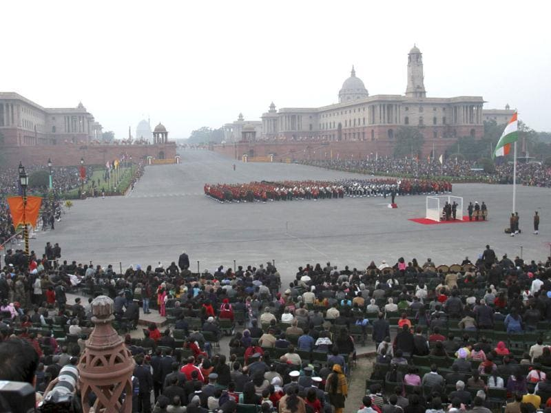 Bands of the Indian military sound the retreat during the