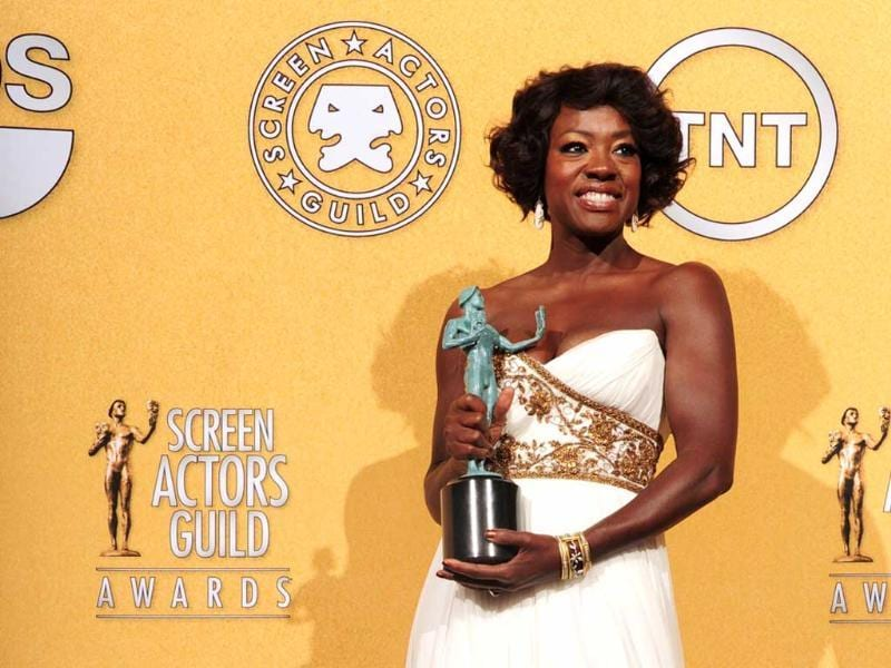 Viola Davis holds the award for Outstanding Performance By A Female Actor In A Leading Role for The Help in the press room at the 18th Annual Screen Actors Guild Awards in Los Angeles, California. AFP Photo/Frederic J. Brown