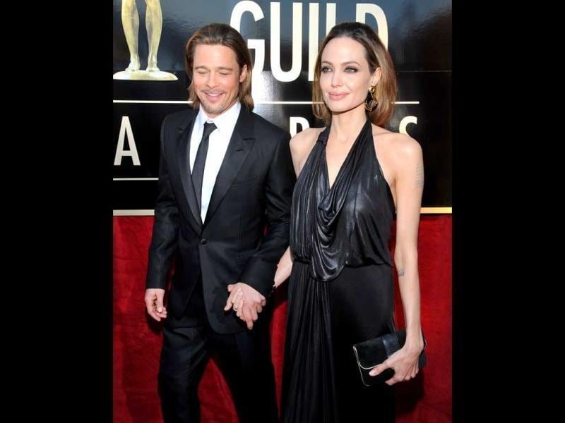 Brad Pitt and Angelina Jolie arrive at the 18th Annual Screen Actors Guild Awards on Sunday in Los Angeles. (AP Photo)