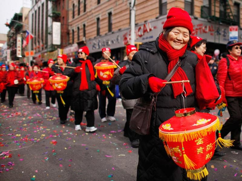 Revellers attend the Chinese New Year parade at Chinatown in New York. (REUTERS/Eduardo Munoz)