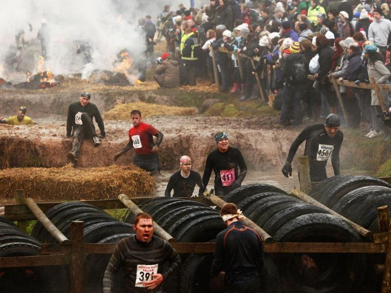 Competitors compete at the annual Tough Guy event, Perton, England. Tough Guy claims to be the world's most demanding one-day survival ordeal. First staged in 1986, it has been widely described as