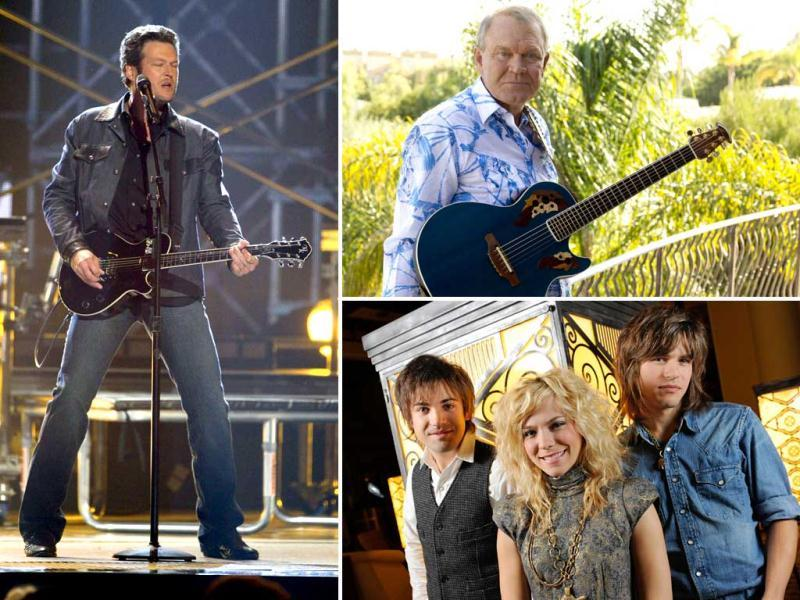 Glen Campbell, The Band Perry & Blake Shelton will be putting up an act at the Grammys.