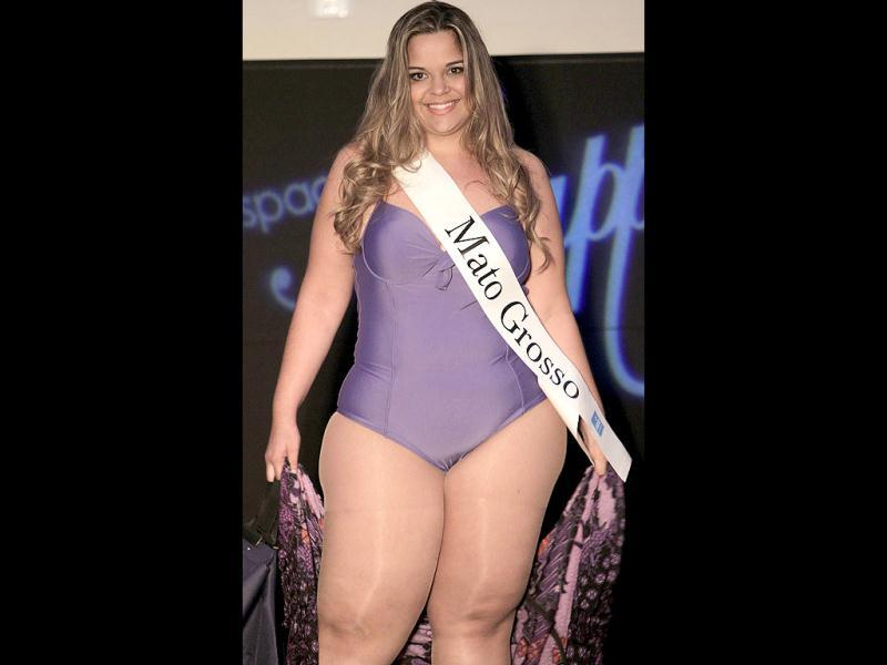 Contestant Mirna Tardim, from Brazil's Mato Grosso state, performs during the Miss Brazil Plus Size Beauty Pageant in Sao Paulo, Brazil. (AP Photo/Andre Penner)