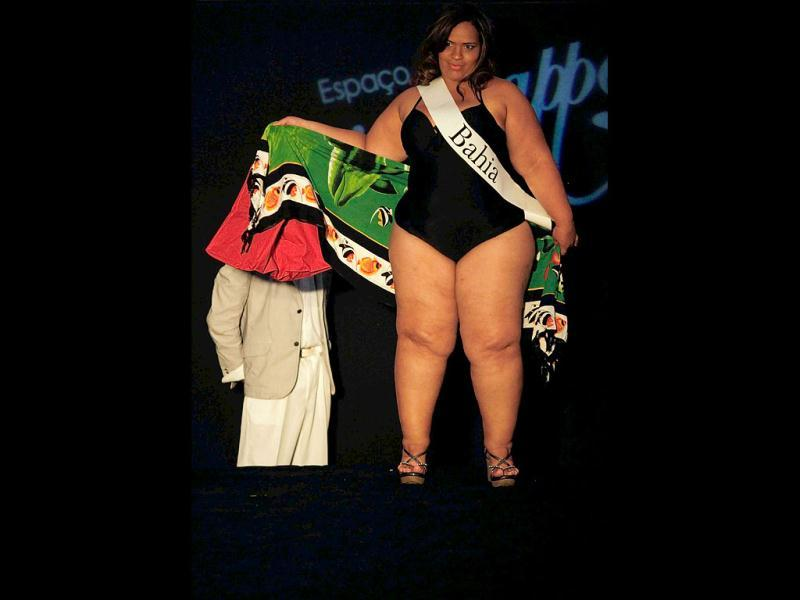 Miss Adriana Santos of Bahia state walks the runway during the Miss Brazil Plus-Size beauty contest in Sao Paulo. (REUTERS)