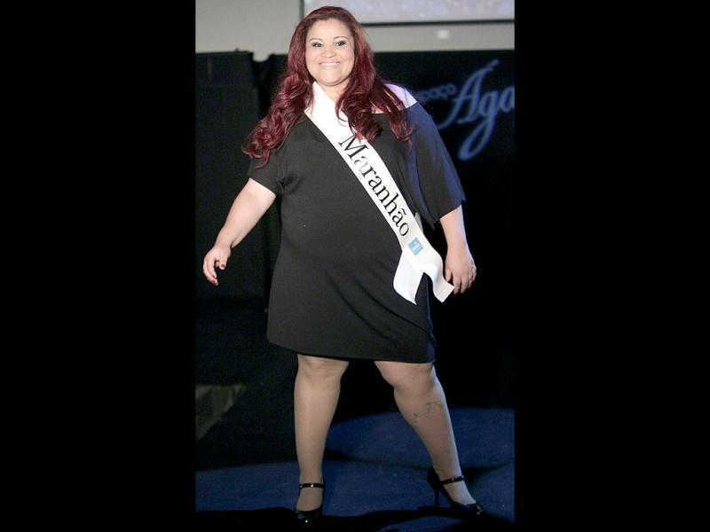 Contestant Elisa Mendes, from Brazil's Maranhao state, performs during the Miss Brazil Plus Size Beauty Pageant in Sao Paulo, Brazil. (AP Photo/Andre Penner)