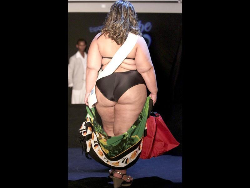 Contestant Adriana Santos, from Brazil's Bahia state, performs during the Miss Brazil Plus Size Beauty Pageant in Sao Paulo, Brazil. (AP Photo/Andre Penner)