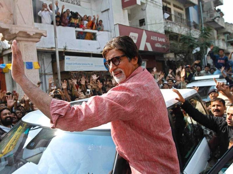 Amitabh Bachchan waves to his fans after the shoot.