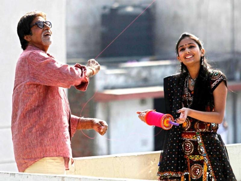 Gujarat Tourism's brand ambassador and actor Amitabh Bachchan flying kite during the shoot in Ahmedabad on Jan 29.
