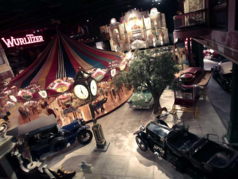 An overhead view is shown of the Milhous Collection in Boca Raton, Florida. One of the country's most extraordinary and voluminous private collections of vintage cars, automated musical instruments and other memorabilia is going on the auction block. Brothers Bob Milhous and Paul Milhous will empty their 39,000-square-foot building, auctioning off its contents to bidders. The crown jewel is a custom-built carousel with 42 hand-carved animals, expected to fetch at least $1 million. All told, the auction is expected to generate about $40 million. (AP Photo/Alan Diaz)